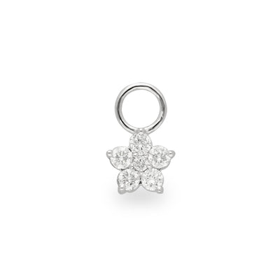 Floral Huggie Charm in White Gold with Diamonds