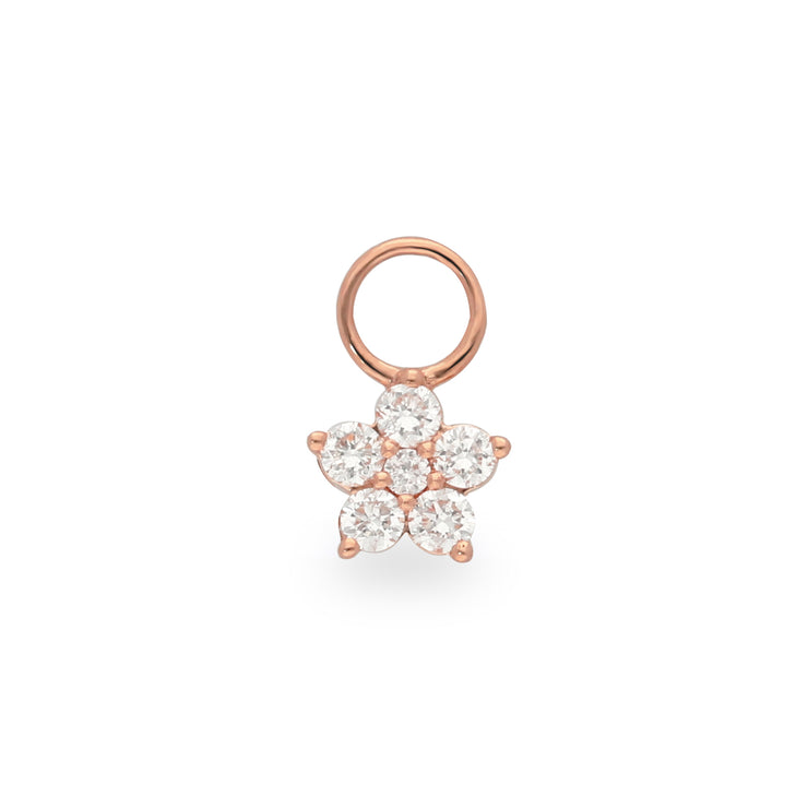 Floral Huggie Charm in Rose Gold with Diamonds