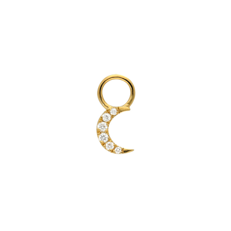 Moon Huggie Charm in Yellow Gold with Diamonds