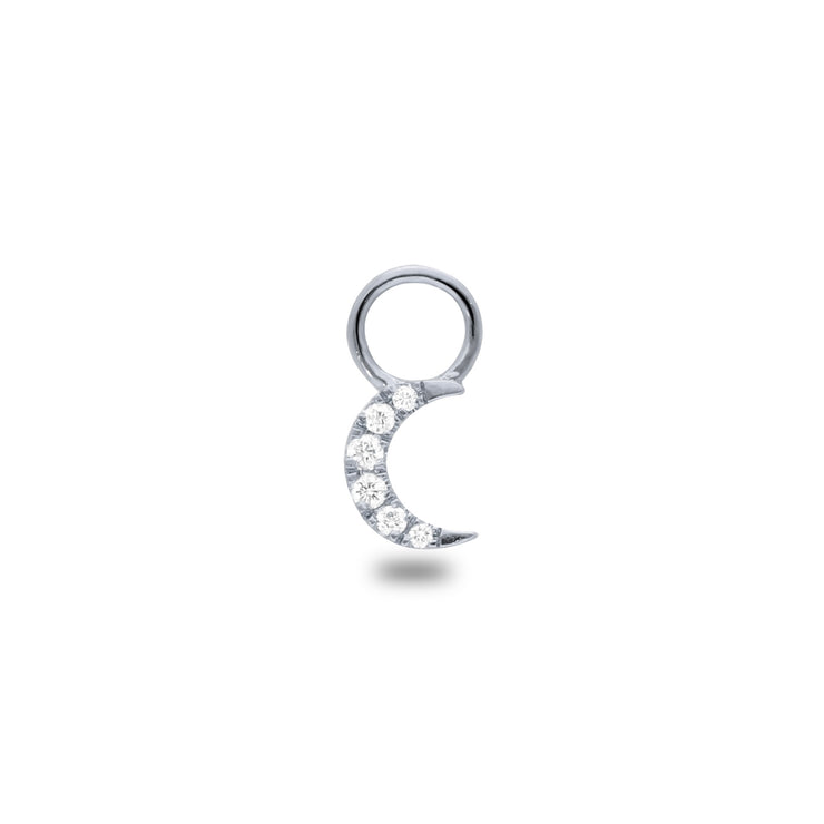 Moon Huggie Charm in White Gold with Diamonds