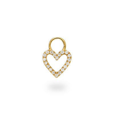 Heart Huggie Charm in Yellow Gold with Diamonds