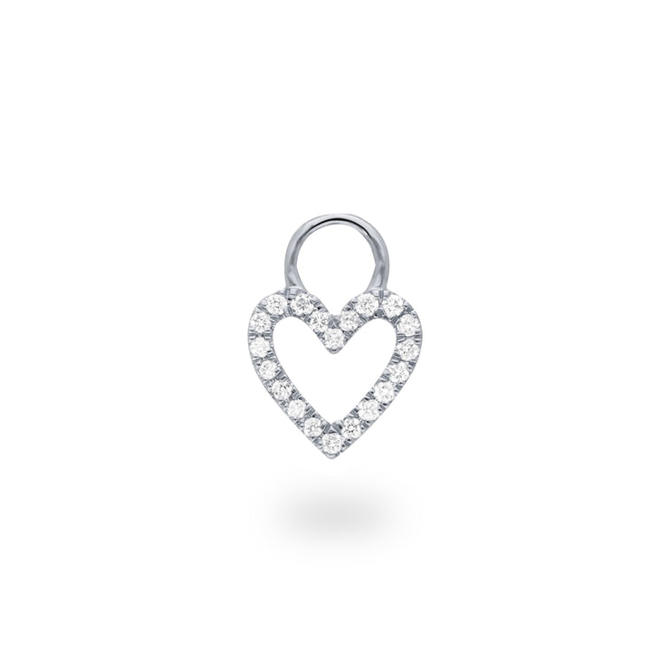 Heart Huggie Charm in White Gold with Diamonds
