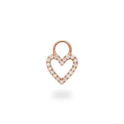 Heart Huggie Charm in Rose Gold with Diamonds