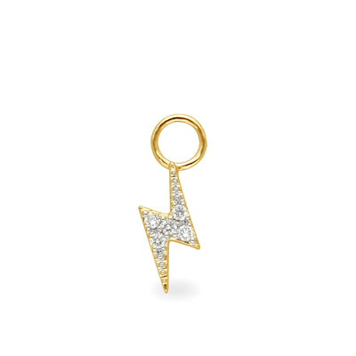Lightning Bolt Huggie Charm in Yellow Gold with Diamonds