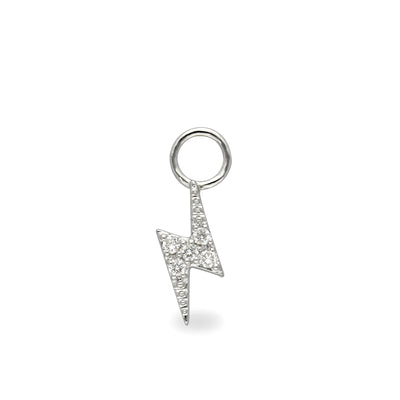Lightning Bolt Huggie Charm in White Gold with Diamonds