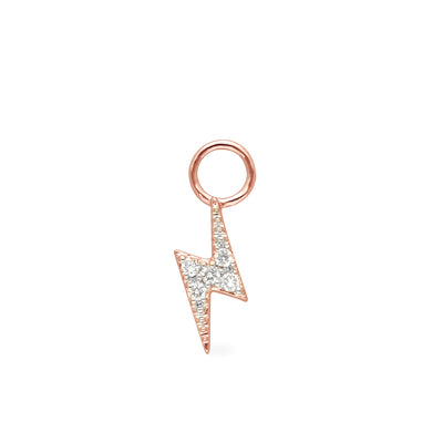 Lightning Bolt Huggie Charm in Rose Gold with Diamonds