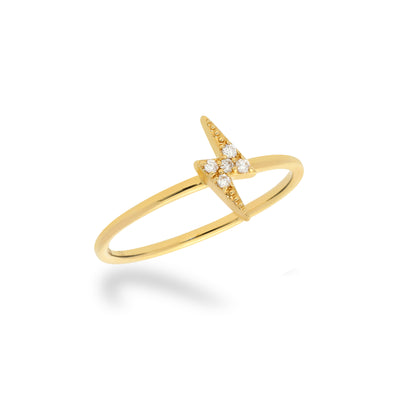 Stackable Lightning Bolt Ring in Yellow Gold with Diamond