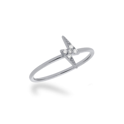 Stackable Lightning Bolt Ring in White Gold with Diamond