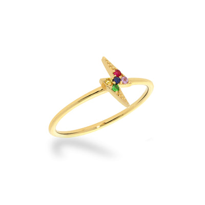 Stackable Rainbow Lightning Bolt Ring in Yellow Gold