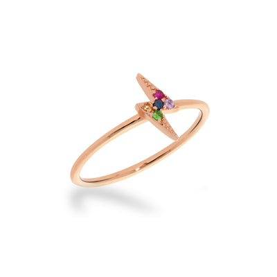 Stackable Rainbow Lightning Bolt Ring in Rose Gold