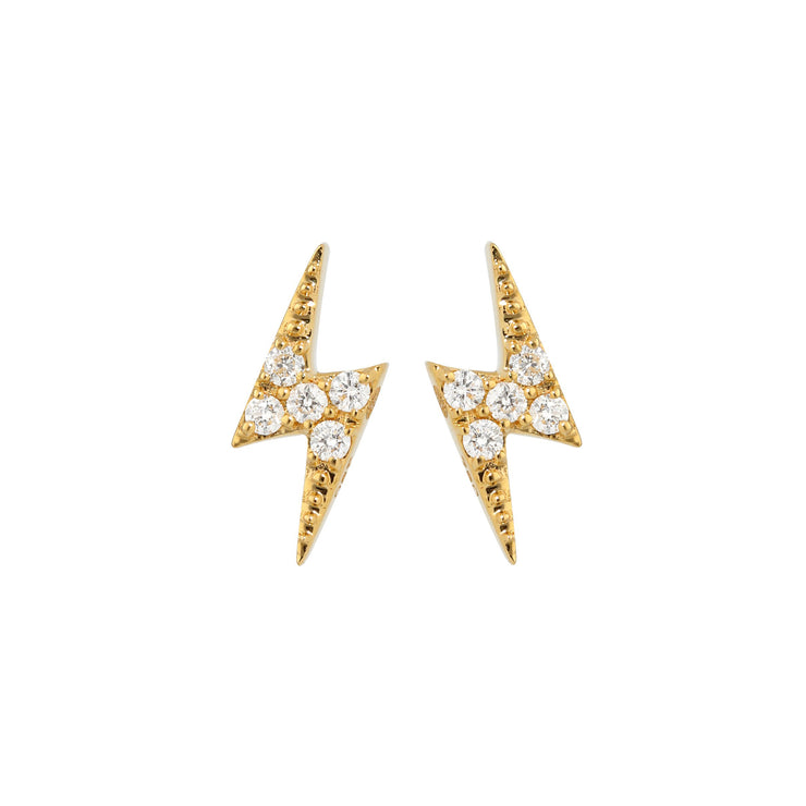 Lightning Bolt Ear Studs in Yellow Gold with Diamonds