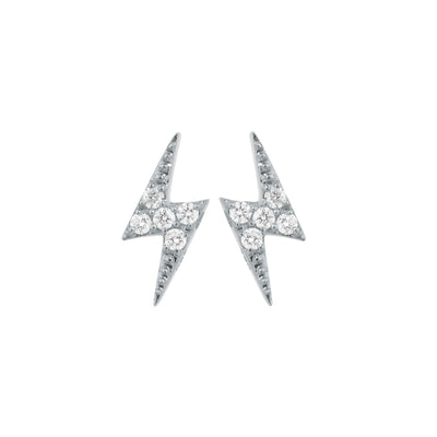 Lightning Bolt Ear Studs in White Gold with Diamonds