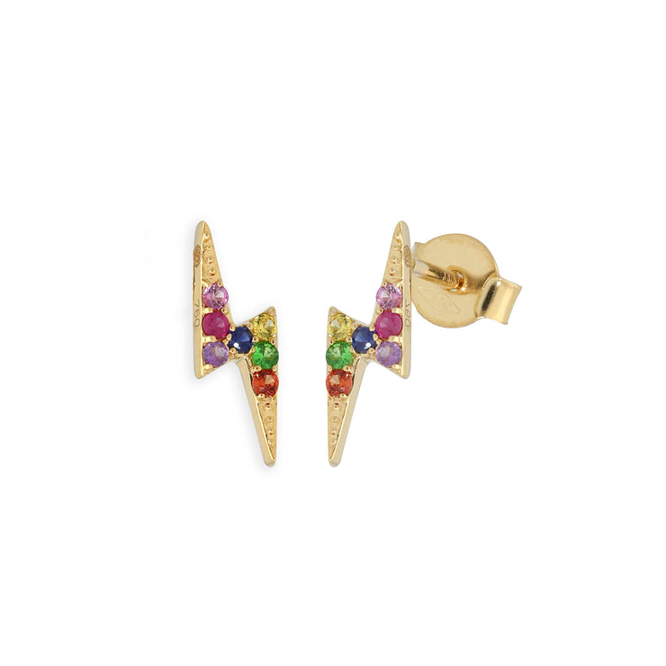 Rainbow Lightning Bolt Ear Studs in Yellow Gold