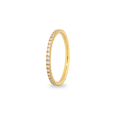 Eternity stapelbare ring in geel goud met diamanten