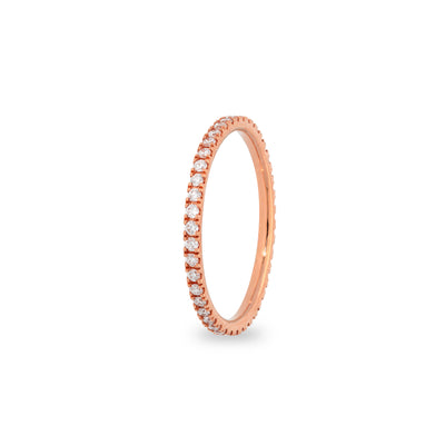 Eternity stapelbare ring in roségoud met diamanten