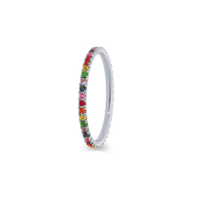 Rainbow Eternity stapelbare ring in witgoud met diamanten
