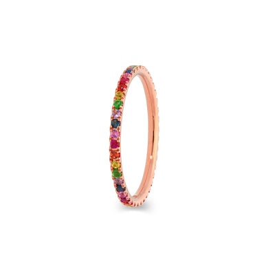 Rainbow Eternity stapelbare ring in roségoud met diamanten