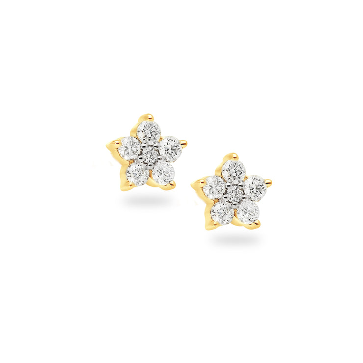 Floral Ear Studs in Yellow Gold with Diamonds
