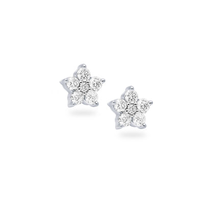 Floral Ear Studs in White Gold with Diamonds