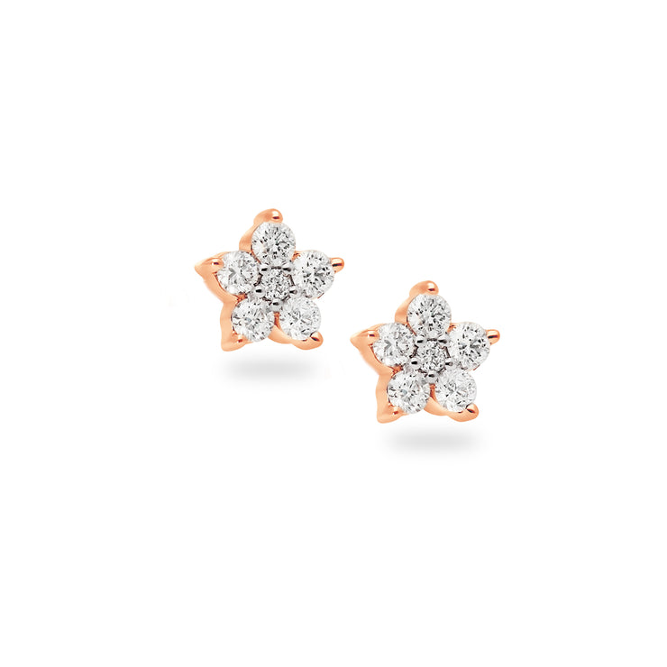 Single Floral Ear Stud in Rose Gold with Diamonds