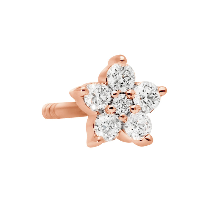 Floral Ear Studs in Rose Gold with Diamonds