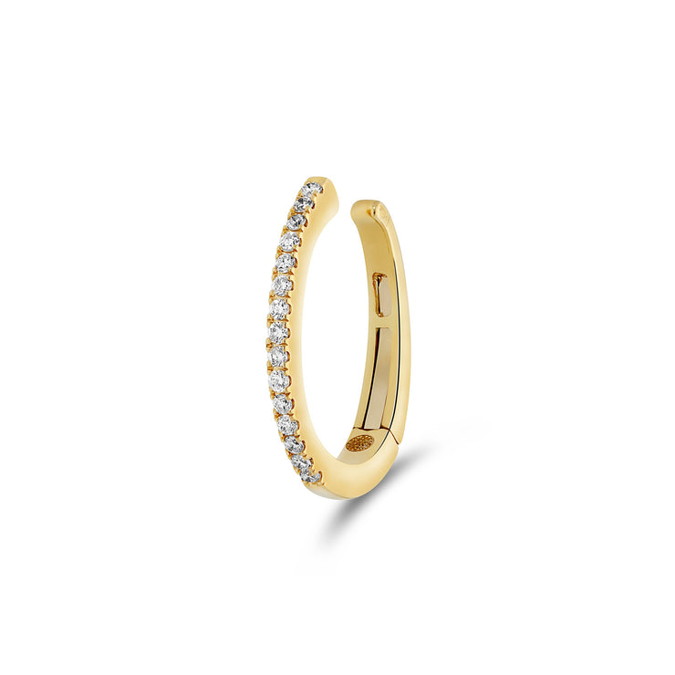 Single Oval Ear Cuff in Yellow Gold with Diamonds