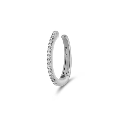 Single Oval Ear Cuff in White Gold with Diamonds