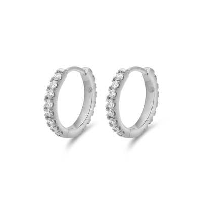 Eternity Midi Huggies in White Gold with Diamonds