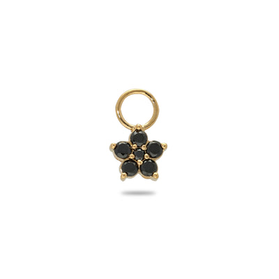 Floral Huggie Charm in Yellow Gold with Black Diamonds