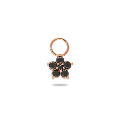 Floral Huggie Charm in Rose Gold with Black Diamonds
