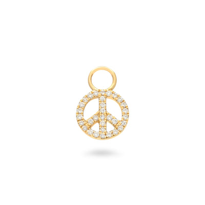 Peace Huggie Charm in Yellow Gold with Diamonds