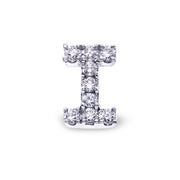 Single Initial Ear Stud in White Gold with Diamonds