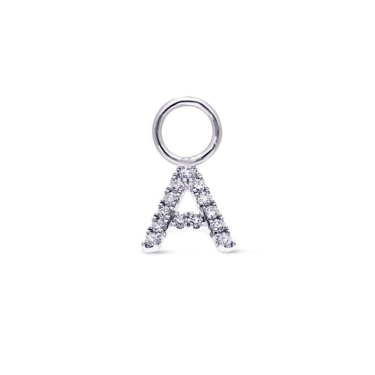 Single Initial Charm in White Gold with Diamonds