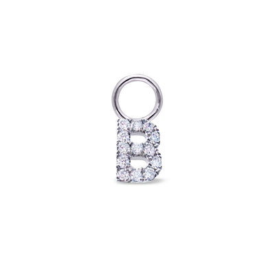 Single Dangle Initial Huggie in White Gold with Diamond