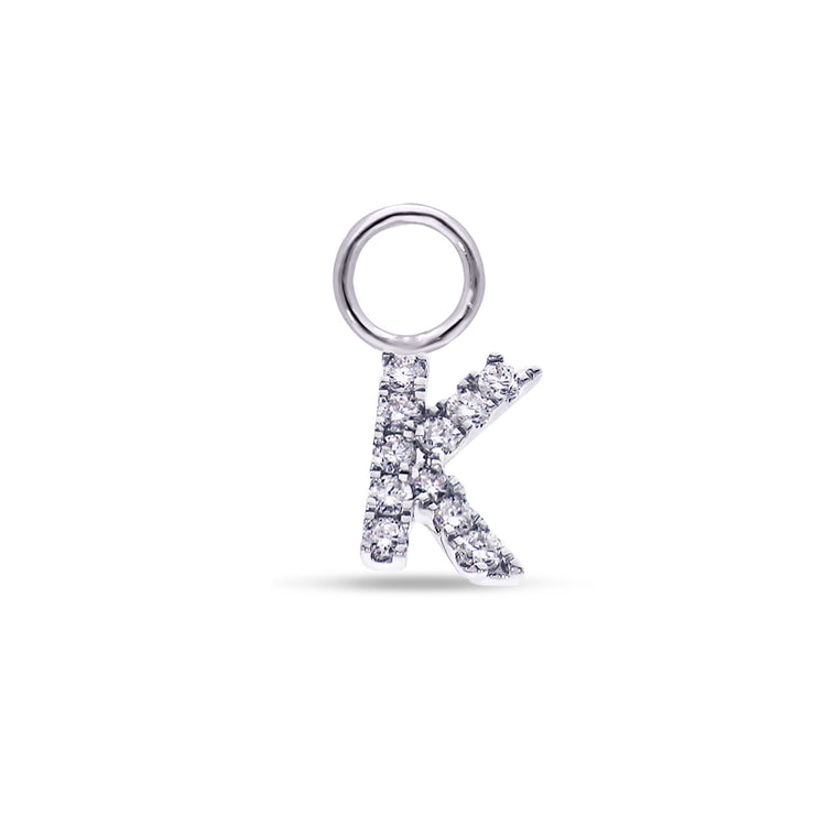 Single Dangle Initial Huggie in White Gold with Diamonds