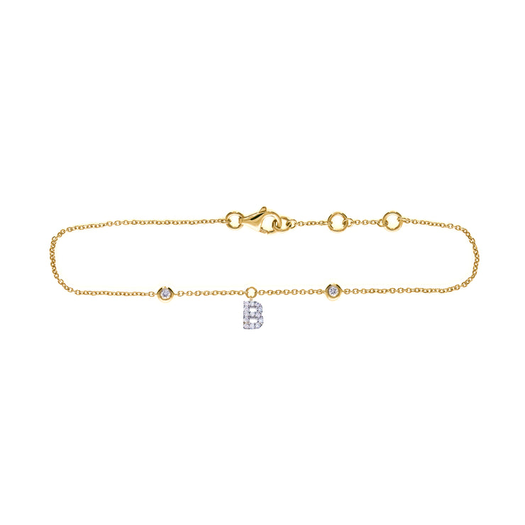 Initial Bracelet in Yellow Gold with Diamonds