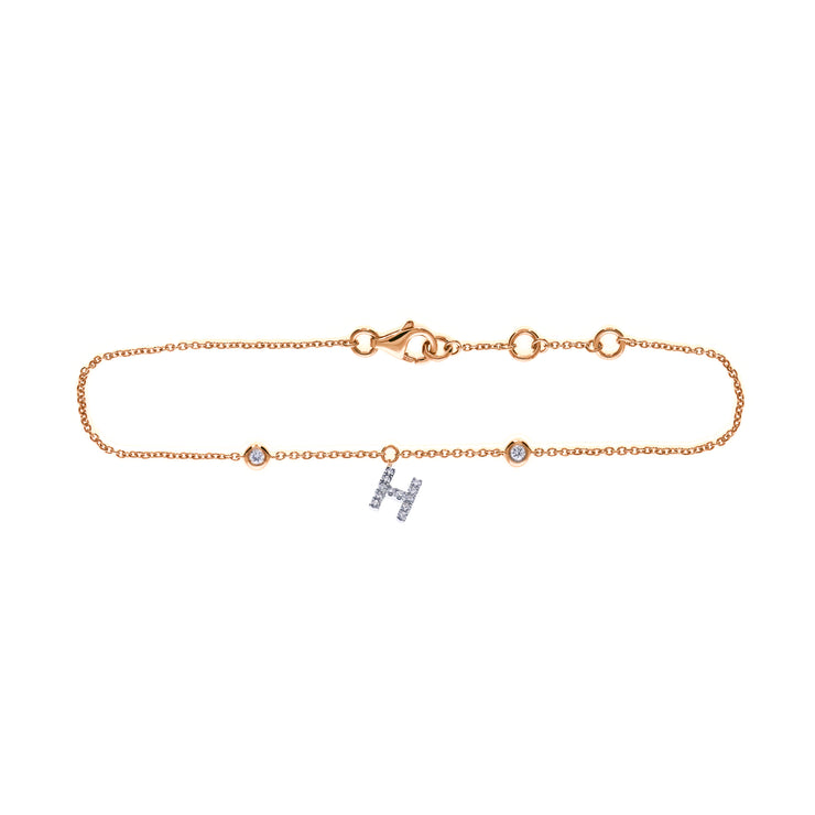 Initial Bracelet in Rose Gold with Diamonds