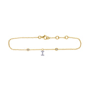 Initial Pendant Bracelet in Yellow Gold with Diamond