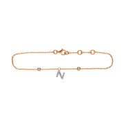Initial Pendant Bracelet in Rose Gold with Diamonds