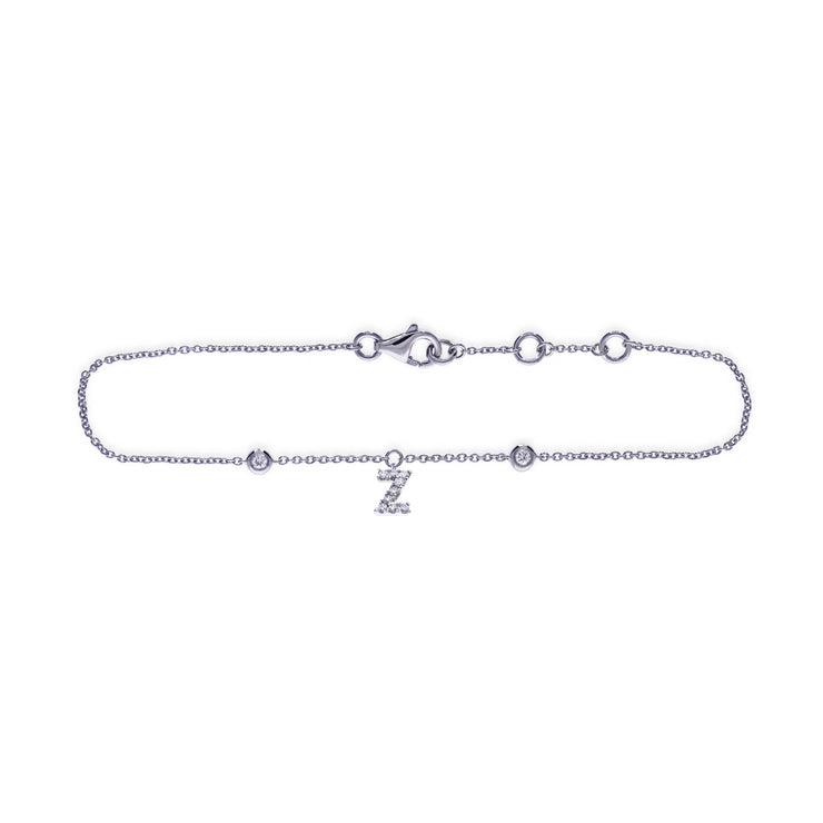 Initial Pendant Bracelet in White Gold with Diamonds