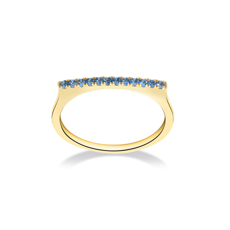 Stackable Bar Ring in Yellow Gold with Blue Topaz