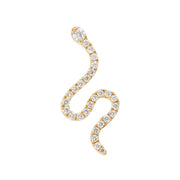 Single Snakey Ear Stud in Yellow Gold with Diamonds