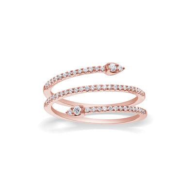 Snakey Ring in Rose goud met diamanten