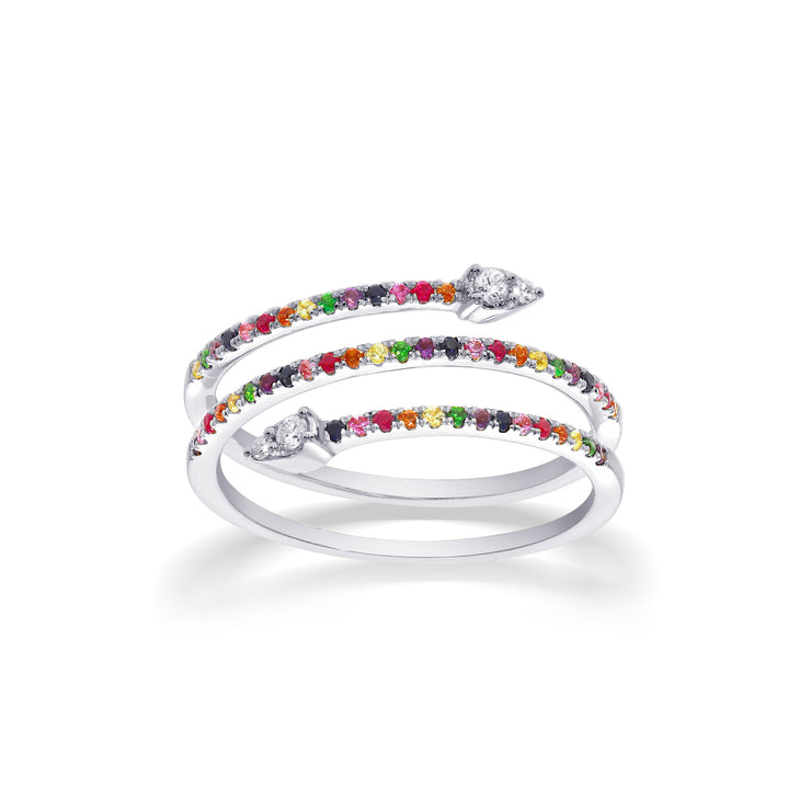 Rainbow Snakey Ring in White Gold with Diamonds & Coloured Gemstones