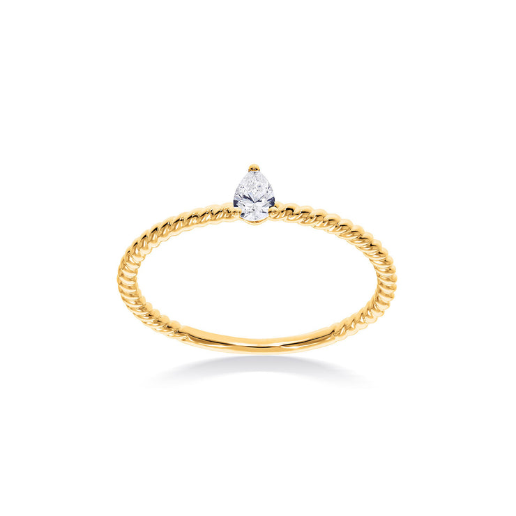 Fancy Shape Pear Diamond Solitaire in Yellow Gold