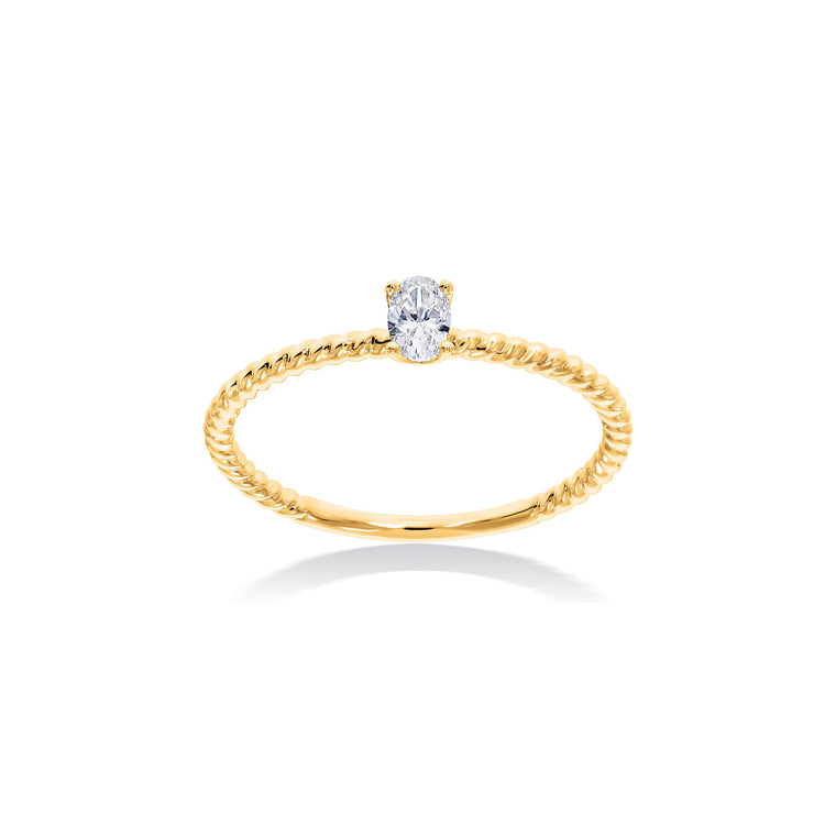 Fancy Shape Oval Diamond Solitaire in Yellow Gold
