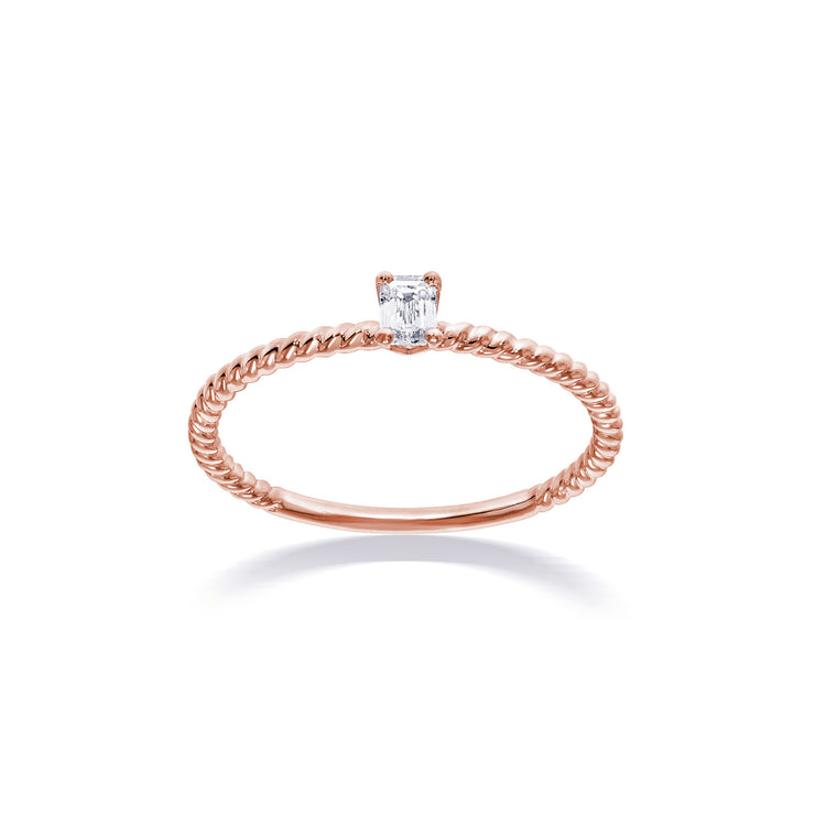 Fancy Shape Emerald Diamond Solitaire in Rose Gold