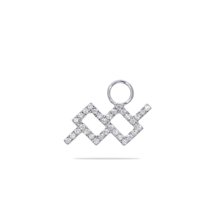 Aquarius Huggie Charm with Diamonds in White Gold