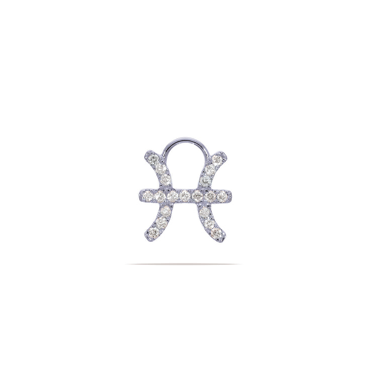Pisces  Huggie Charm with Diamonds in White Gold