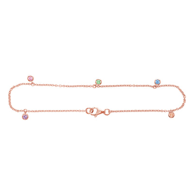 Dots Ankle Bracelet with Coloured Gemstones in Rose Gold